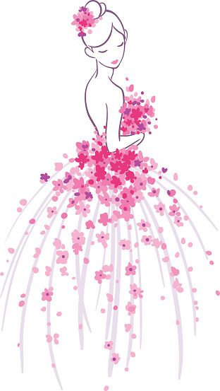 Art Sketch Of Bride With Pink Flowers Stock Illustration - Download Image Now