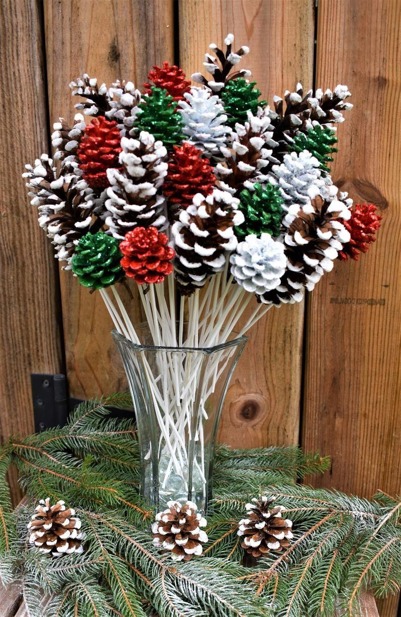 Holiday Pine Cone Flowers/ ONE Dozen White Tipped Pine Cone Flowers / Christmas Pine Cone Flowers