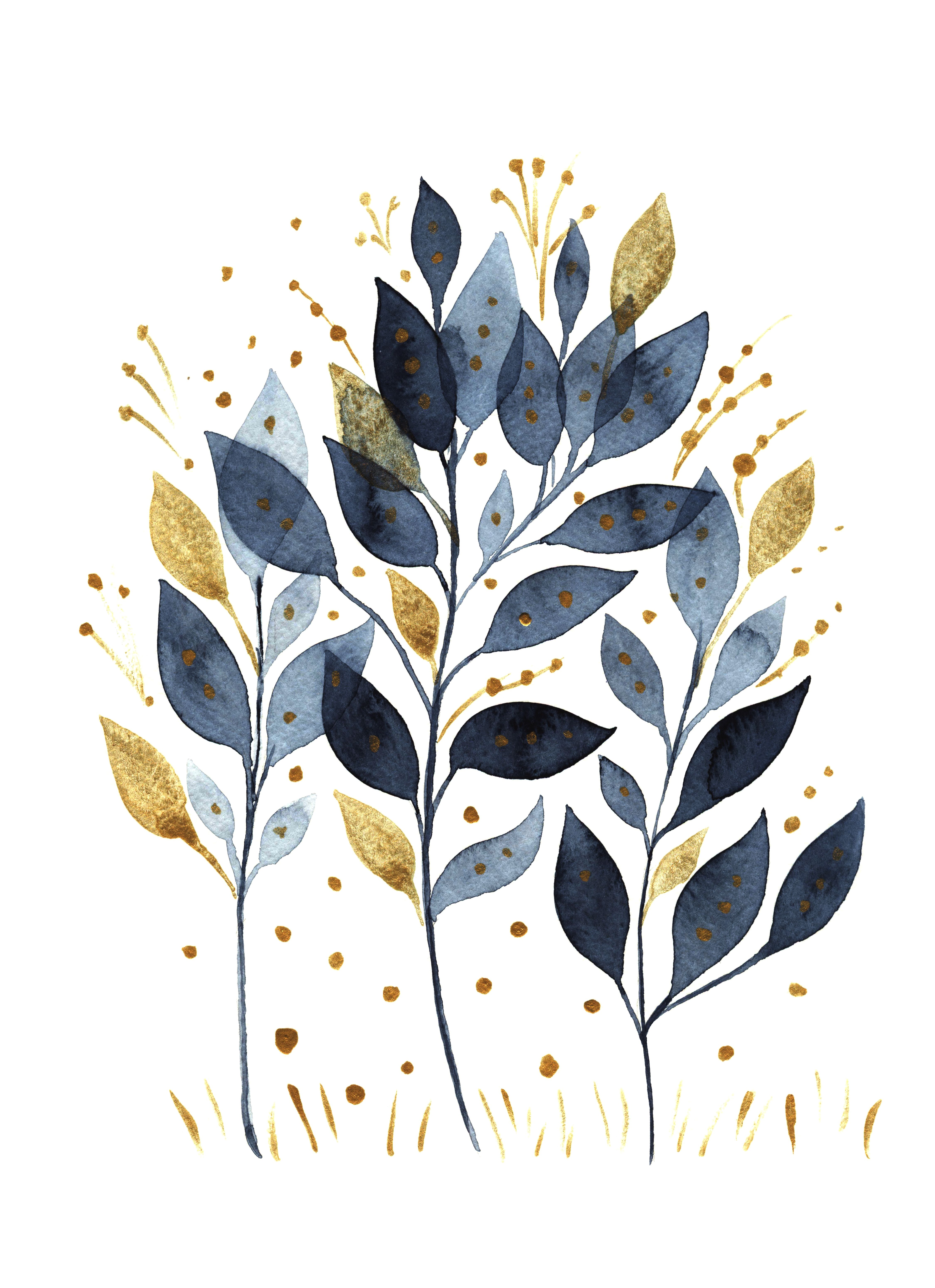 Twigs with blue and gold leaves