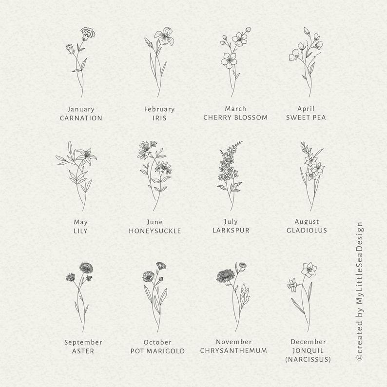 Birth Month Flowers SVG Bundle - Floral Svg Clip Art - Botanical Clipart PNG - Digital Vector Svg Files - Hand Drawn Clipart - Birthday Gift