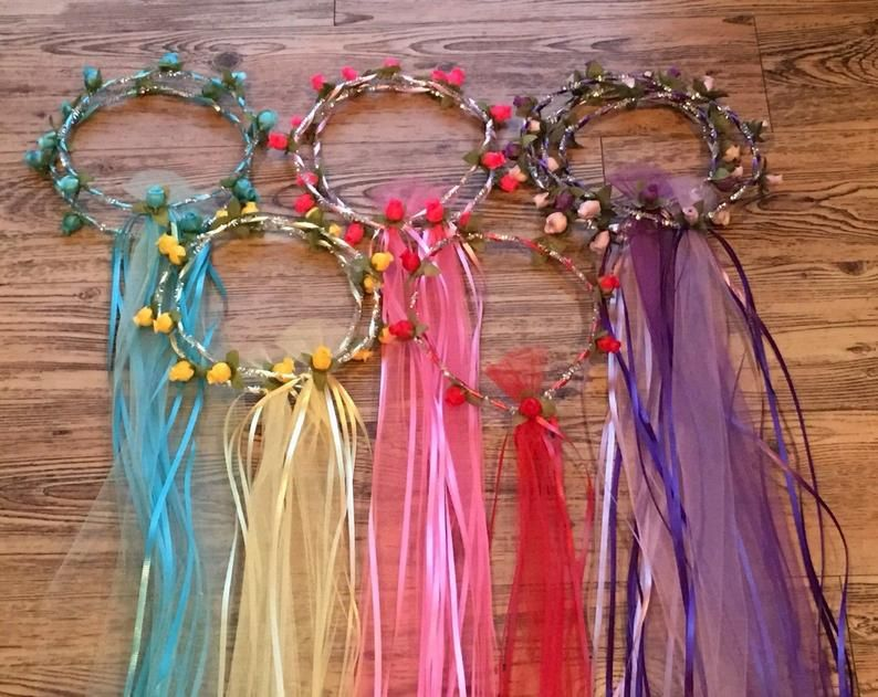 BoHo Flower Crowns - Princess - Fairy Halo with Flowers, Ribbons, Tulle, Gems & More. Weddings, Hippie Music Festivals - Custom Made