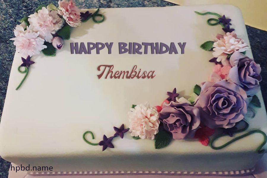 Latest Purple Flower Happy Birthday Cake By Name Editing