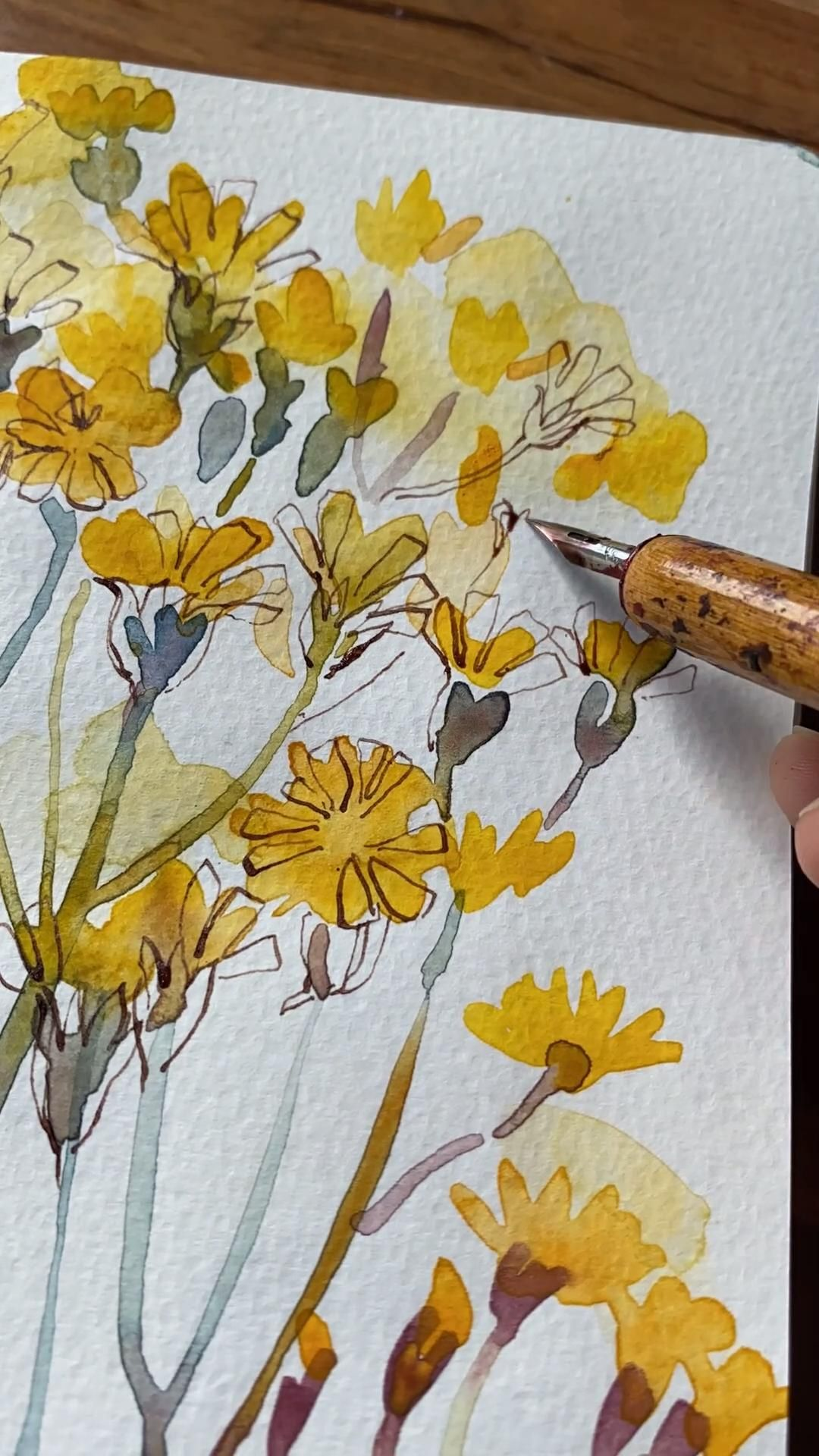 Watercolor and Ink Floral Tutorial
