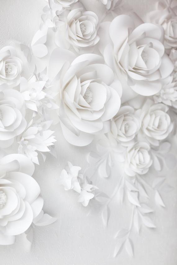 White Wedding Paper Flowers - Paper Flowers- Paper Flowers Wall Decor - Paper Flowers Wall